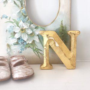 Lovely little reclaimed gold shop letter (N - 10cm)