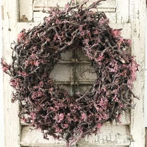 Beautiful rustic pink bonsai mossed wreath