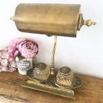 Wonderful vintage brass desk lamp with glass inkwells