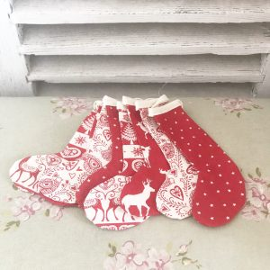 Cute little handmade Christmas stocking bunting