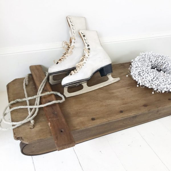 Lovely large handmade vintage wooden sleigh