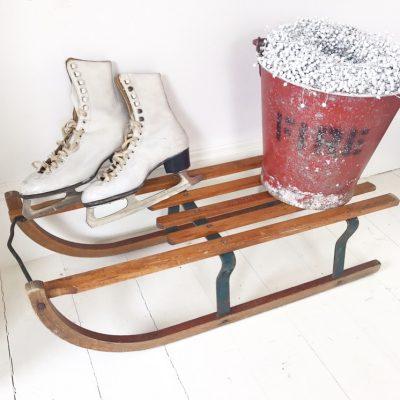 Charming old Davos Germina wooden sleigh (#3)