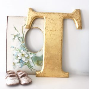 Large gold reclaimed pub letter (T)