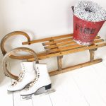 Beautiful large vintage wooden horned sleigh