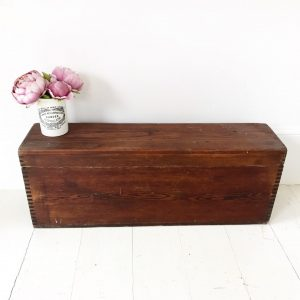 Handsome old wooden storage trunk