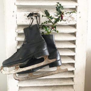 Lovely set of vintage black ice skates
