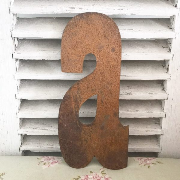 Wonderful old rusted metal shop sign letter a (35cm)