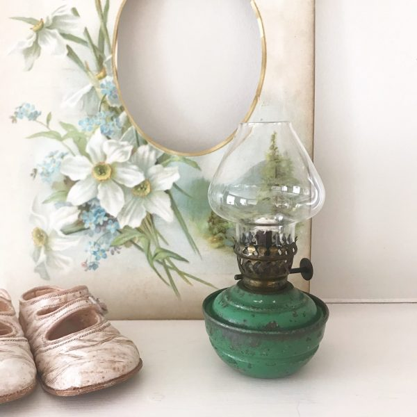 Gorgeous dark green vintage nursery oil lamp