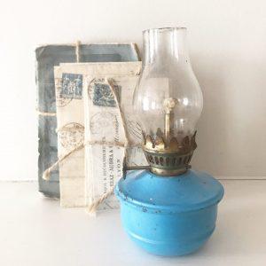 Wonderful little blue vintage nursery oil lamp