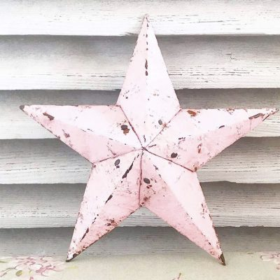 Delightful little pink Amish barn star (11 inches)