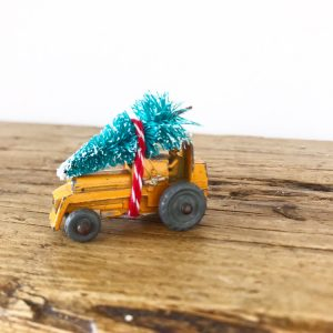 The cutest little vintage tractor with bottle brush tree