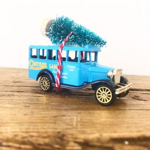 Vintage bedford school bus with bottle brush tree