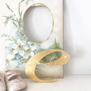 Cute little reclaimed gold italic letter e (10cm)