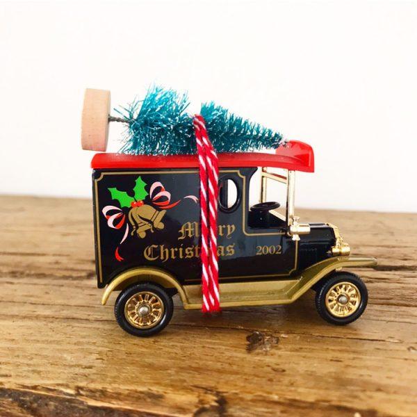 Lovely Vintage Merry Christmas Van with bottle brush tree