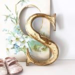 Beautifully distressed gold wooden letter S (20cm)