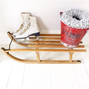 Charming old Davos wooden sleigh 89cm (#7)