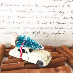 Lovely little vintage Jaguar XK140 with bottle brush tree