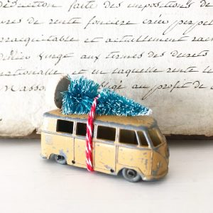 Cute little Volkswagen camper van with bottle brush tree