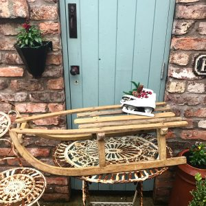 Wonderful old rustic wooden sleigh (90cm)