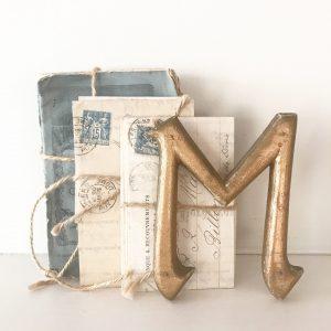 Wonderful gold gilt antique wooden sign letter M (11cm)