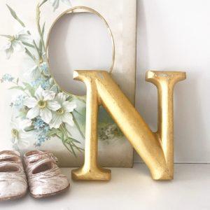 Lovely little reclaimed gold gilt letter N (15cm)