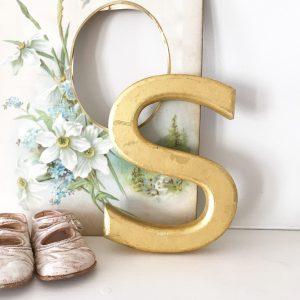 Lovely little reclaimed gold letter S (17cm)