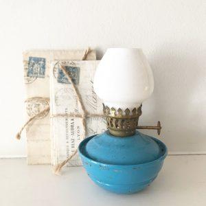 Gorgeous blue vintage nursery oil lamp