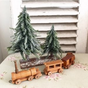 Lovely little wooden vintage toy train
