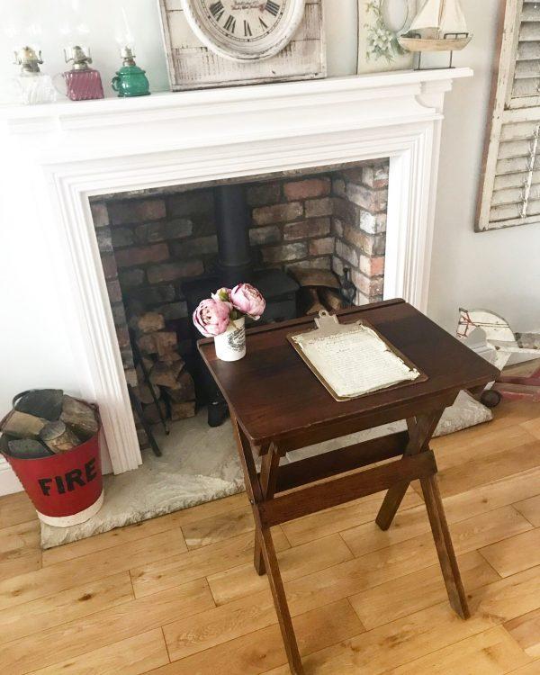 Wonderful antique oak folding school desk