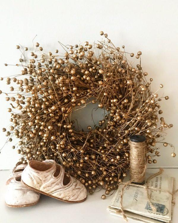 Stunning metallic gold dried flax wreath (20cm)