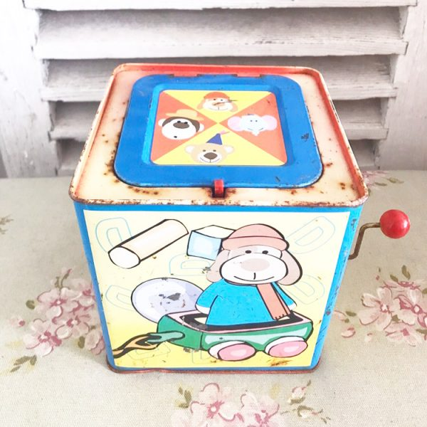 Wonderful old jack in the box tinplate toy