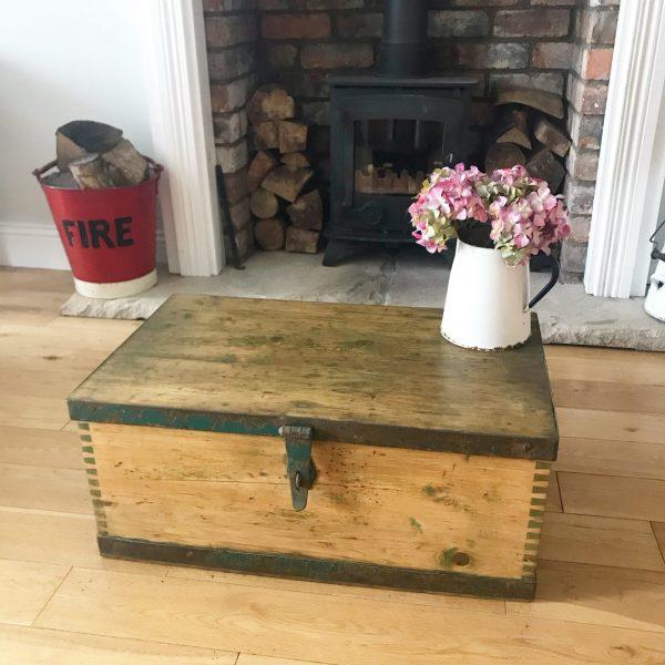 Unusual vintage wooden storage trunk