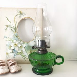 Gorgeous green glass vintage oil lamp