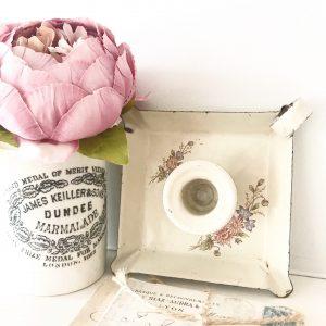 Delightful little vintage floral candle stick holder