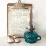 Beautiful blue vintage oil lamp