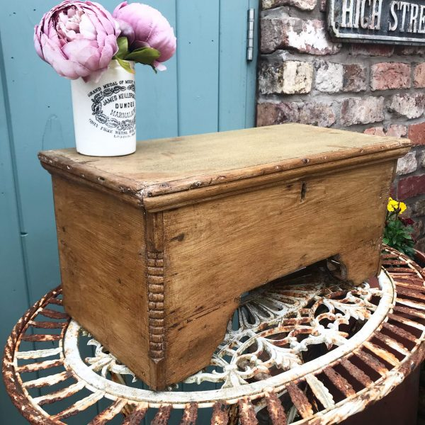 Charming vintage wooden stool with storage