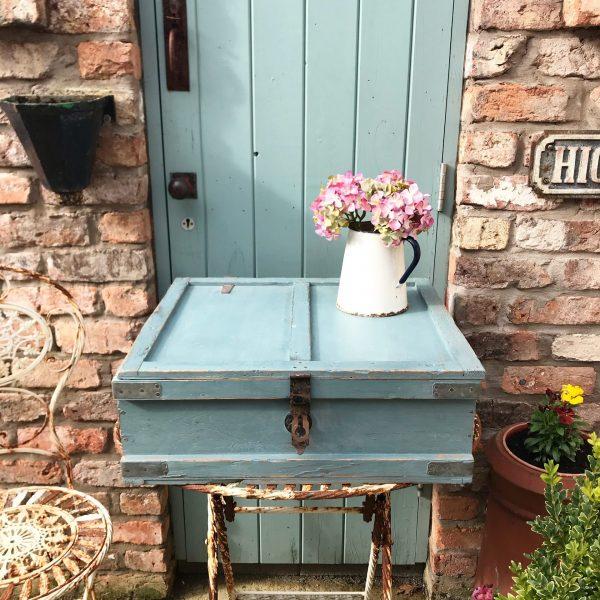 Charming little blue painted vintage storage trunk