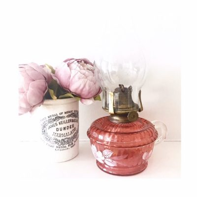 Absolutely stunning antique ruby oil lamp