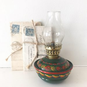 Gorgeous vintage hand painted oil lamp