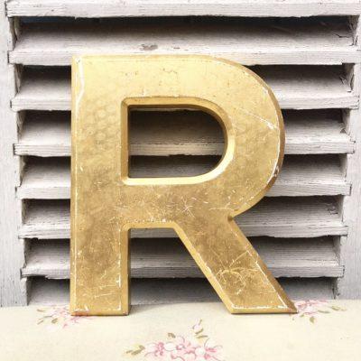 Large gold reclaimed pub letter (R - 25cm)