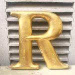 Absolutely stunning reclaimed gold letter (R - 30cm)