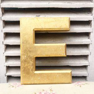 Large gold reclaimed pub letter (E - 25cm)
