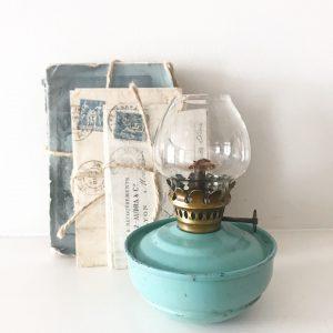 Sweet little blue vintage nursery oil lamp