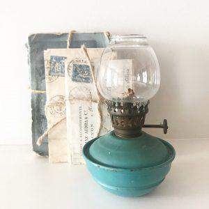 Delightful green/blue vintage nursery lamp