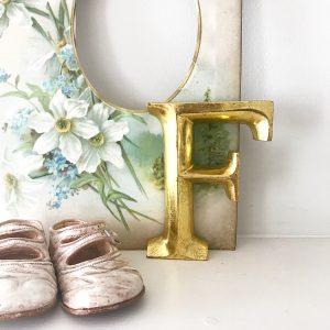 Lovely little gold lightweight wooden letter F (12cm)