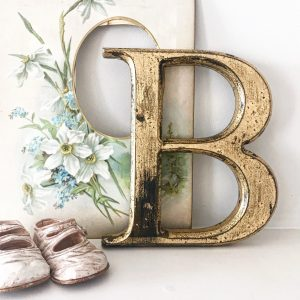 Beautifully distressed gold wooden letter B (20cm)