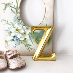 Lovely little gold lightweight wooden letter Z (12cm)