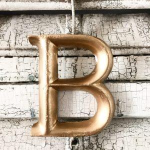 Lovely little gold lightweight wooden letter B (12cm)