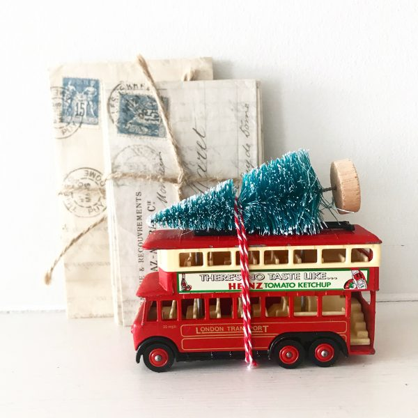 Gorgeous little vintage Heinz bus with bottle brush tree