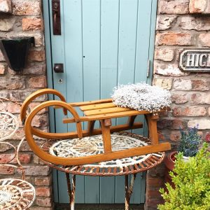Superb small vintage wooden horned sleigh